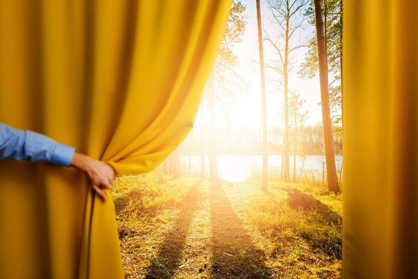 A curtain opening up to a window looking at a sun rising on a forest