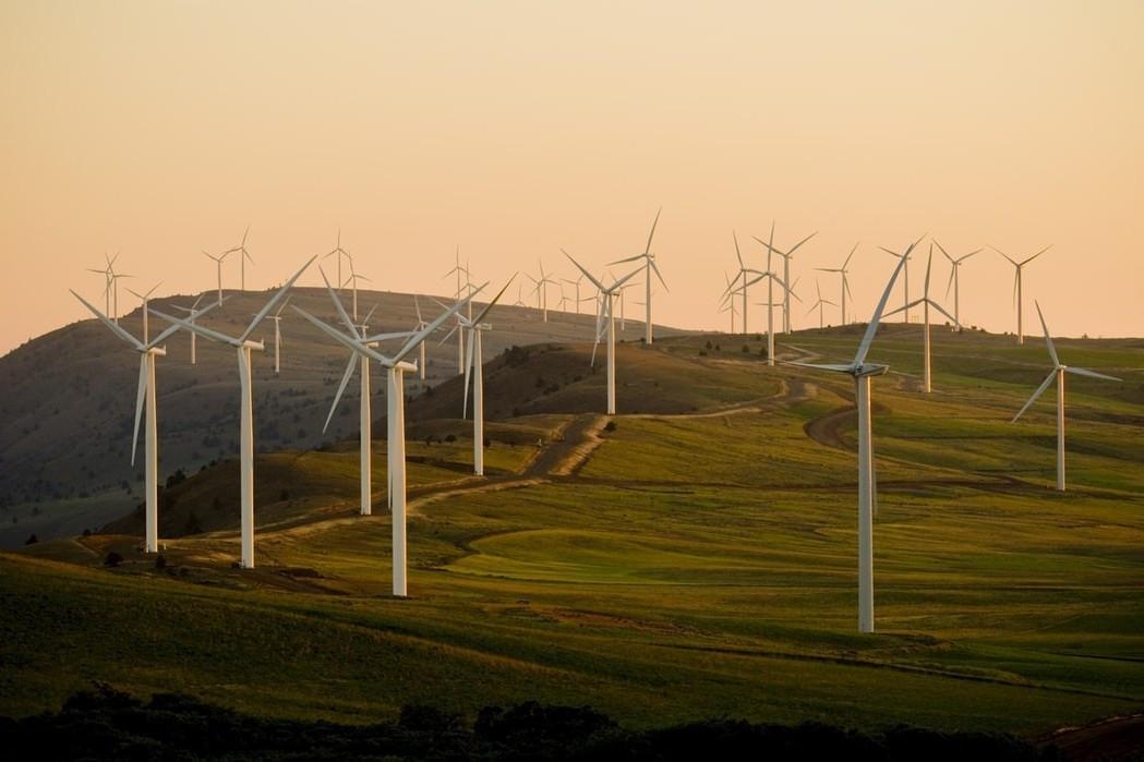 A windmill farm at sunset