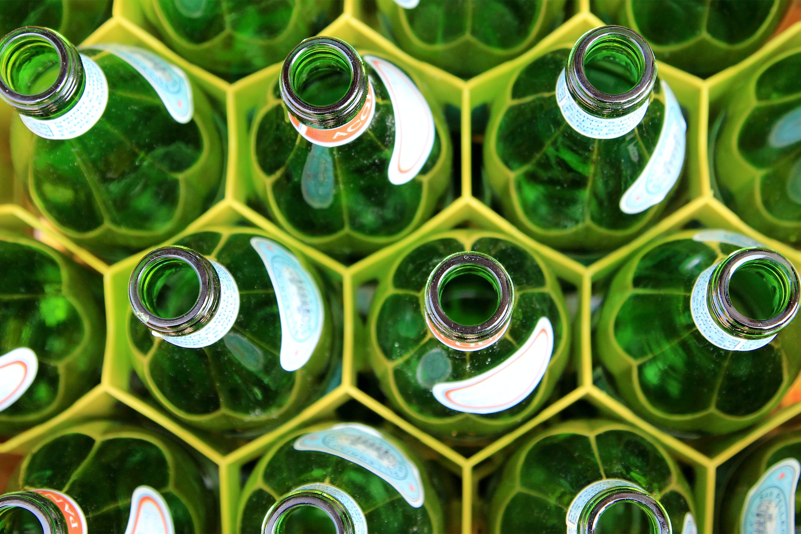 Glass bottles. Bottle production line.